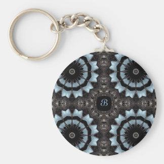 Gothic medieval kaleidoscope monogram B Basic Round Button Key Ring