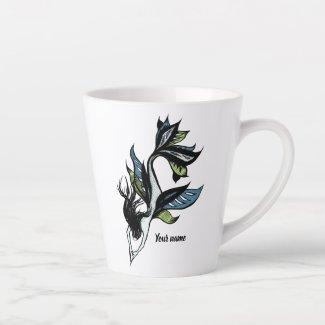 Gothic Mermaid Beautiful Ink Drawing Name Latte Mug