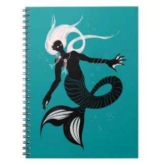 Gothic Mermaid With Fishbone Necklace Dark Art Notebook