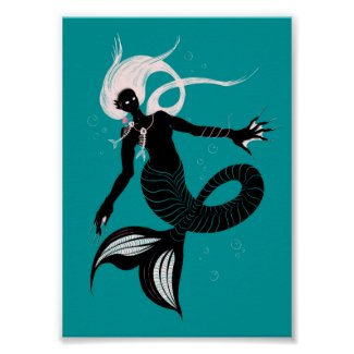 Gothic Mermaid With Fishbone Necklace Dark Art Poster