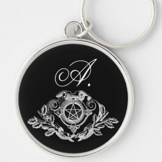 Gothic Monogram Pentacle Silver-Colored Round Key Ring