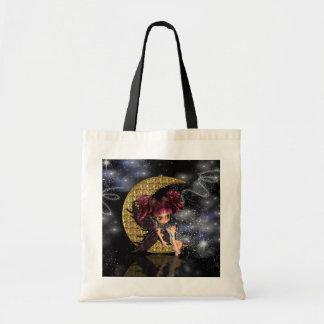 gothic moon fairy tote bag, cute gothic fairy