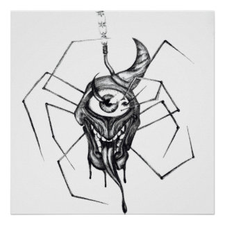 Gothic one eyed spider poster