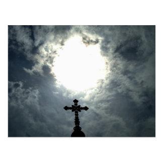 Gothic open heavens cemetery cross postcard