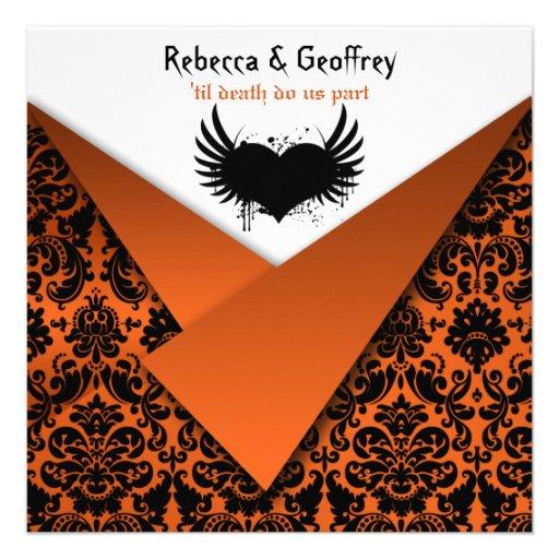 Gothic Orange and Black Damask Wedding Invitation
