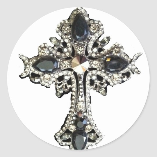 GOTHIC ORNATE CRYSTAL CROSS PRINT CLASSIC ROUND STICKER