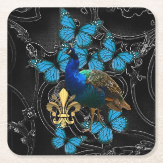 Gothic Peacock and butterflies Square Paper Coaster