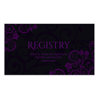 Gothic Plum Wedding Registry Card Pack Of Standard Business Cards