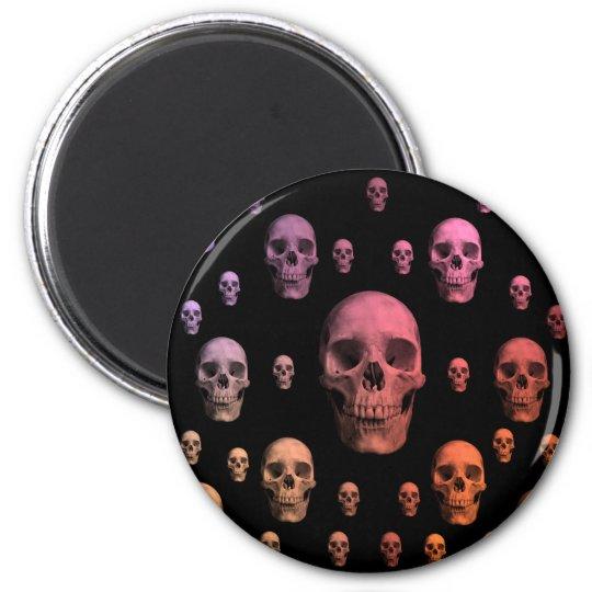 Gothic punk colourful skulls cute magnet