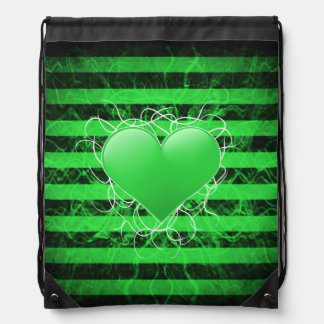 Gothic punk emo green heart with black stripes drawstring bag