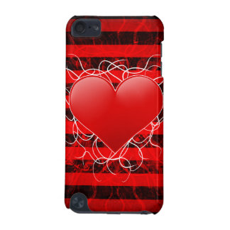 Gothic punk emo red heart with black stripes iPod touch 5G cover