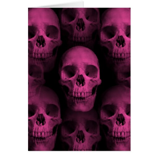 Gothic punk girly hot pink cute skull greeting cards