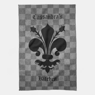 Gothic punk gray checkerboard black fleur de lis tea towel