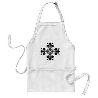 Gothic punk royal fleur de lis damask black gray adult apron