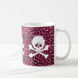 Gothic Punk Skull with Pink Leopard Print Coffee Mug