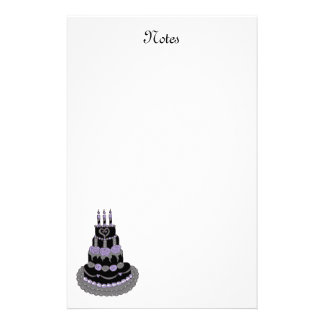 Gothic Purple Birthday Cake Stationery Design