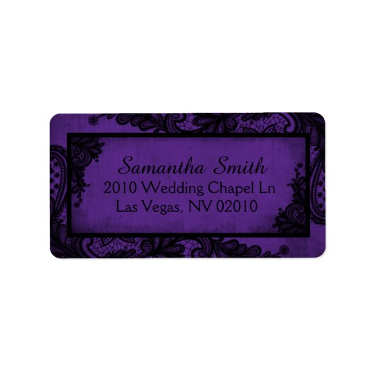 Gothic Purple Black Lace Grunge Wedding Labels