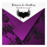 Gothic Purple, Black, Silver Wedding Invitation