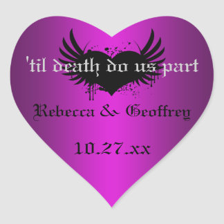 Gothic Purple, Black Winged Heart Wedding Sticker