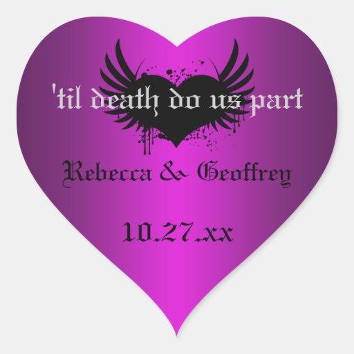 Gothic Purple, Black Winged Heart Wedding Sticker
