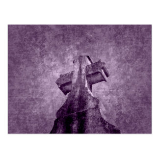 Gothic purple cross tombstone postcard