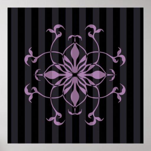 Gothic purple flower on dark stripes poster