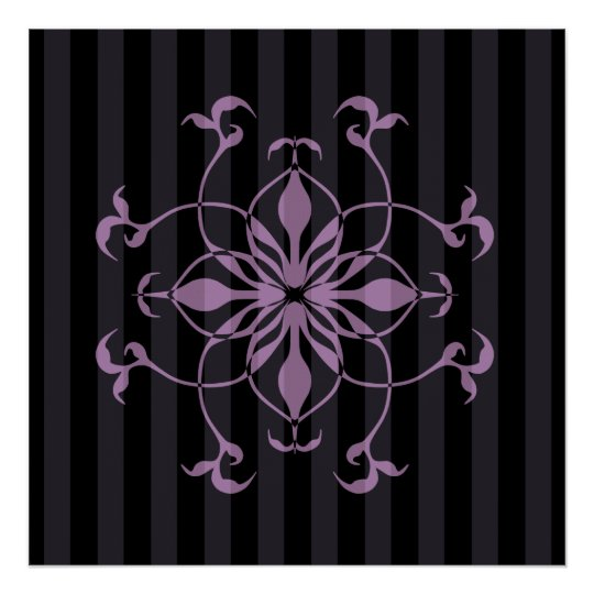 Gothic purple flower on dark stripes poster
