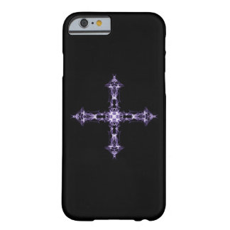 Gothic Purple Fractal Cross Barely There iPhone 6 Case