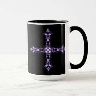 Gothic Purple Fractal Cross Mug
