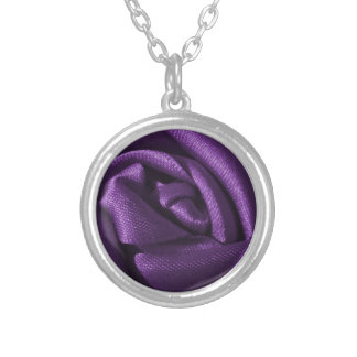 Gothic Purple Rose Silver Plated Necklace