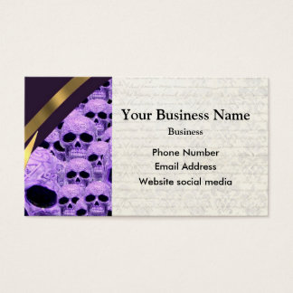 Gothic purple skull pattern business card