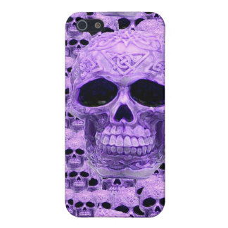 Gothic Purple Skulls Cover For iPhone 5/5S