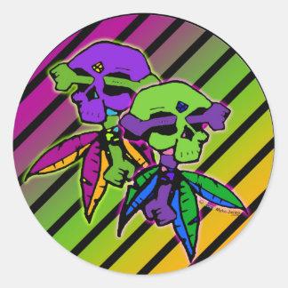 Gothic Rainbow Dead Head Skull & Cross Bones Round Sticker
