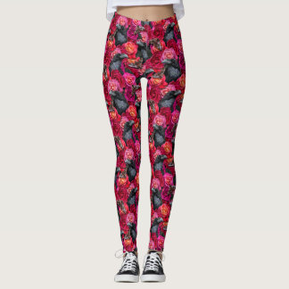 Gothic Raven Nevermore with Roses and Hawk Moths Leggings