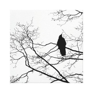 Gothic Raven on a Tree Branch Art Canvas