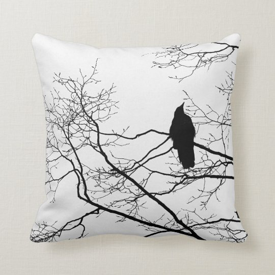 Gothic Raven on a Tree Branch Pillow Cushion