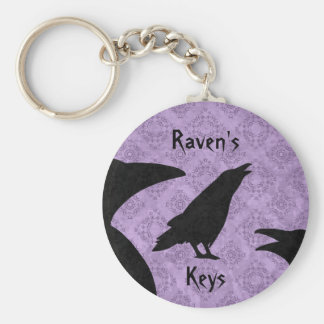 Gothic ravens black and purple add your name key ring