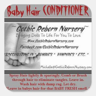 GOTHIC REBORN NURSERY BABY HAIR CONDITIONER LABEL SQUARE STICKER