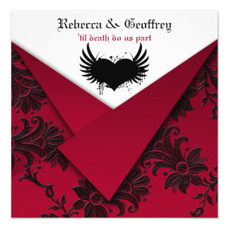 Gothic Red and Black Wedding Invitation