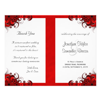 Gothic Red Floral Wedding Program Templates 21.5 Cm X 28 Cm Flyer