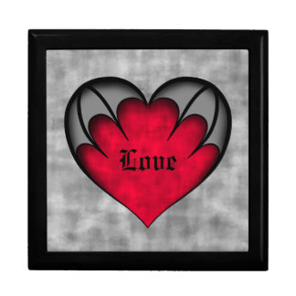 Gothic red heart Valentine's day Large Square Gift Box