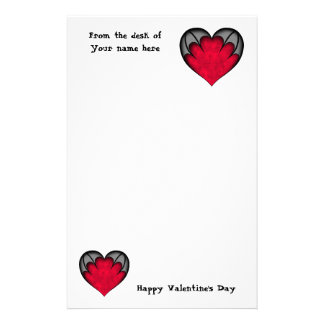 Gothic red heart Valentine's day Stationery Design