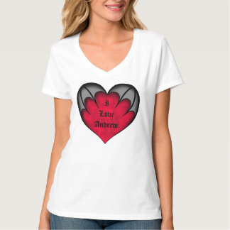 """Gothic red """"I love"""" heart add a name T-Shirt"""