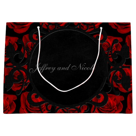 Gothic Red Roses Victorian Wedding Large Gift Bag