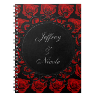 Gothic Red Roses Victorian Wedding Notebooks