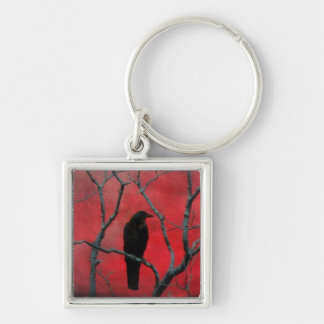Gothic Red Silver-Colored Square Key Ring