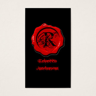 Gothic Red Wax Seal Make up artist Tattoo Business Card