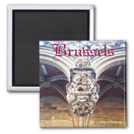gothic relief on Grand Place, Brussels, Belgium Square Magnet