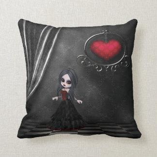 Gothic Romance Goth Girl & Hanging Heart Pillow