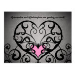 Gothic romance swirls and hearts save the date